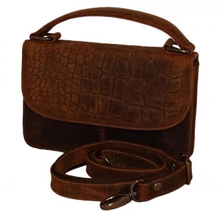 Leather Design Schoudertasje met Overslag Croco Bruin
