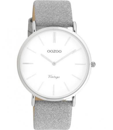 OOZOO Timepieces Horloge Vintage Glitter Zilver/Wit | C20145