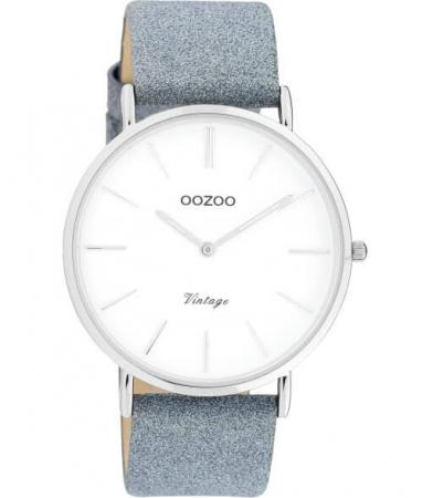 OOZOO Timepieces Horloge Vintage Glitter Blauw/Wit   C20147