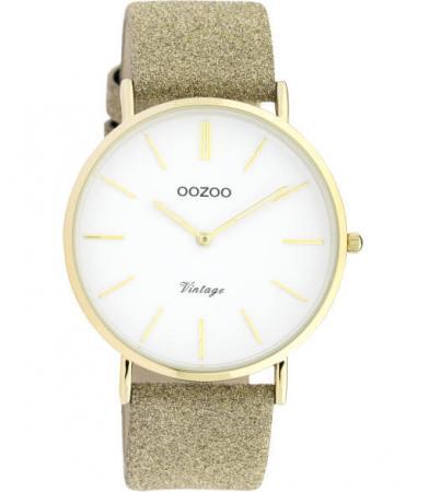 OOZOO Timepieces Horloge Vintage Glitter Goud/Wit | C20148