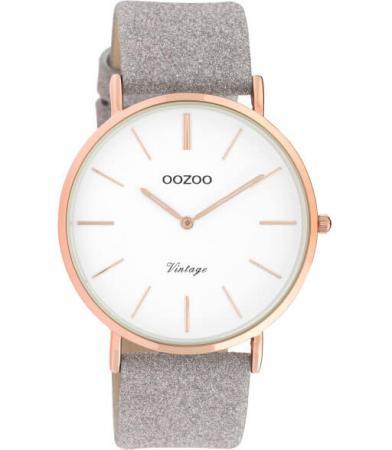 OOZOO Timepieces Horloge Vintage Glitter Taupe/Wit   C20151