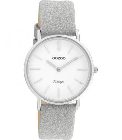 OOZOO Timepieces Horloge Vintage Glitter Zilver/Wit | C20155