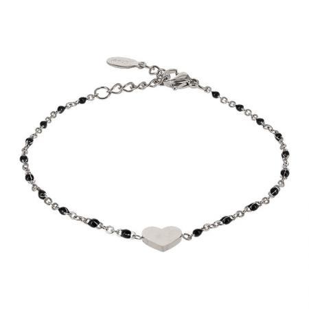 Kalli Armband met Zwart Bolletjes en een Hartje Zilver   2587