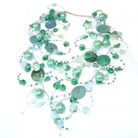 Draad Ketting Parel met Schelp Turquoise