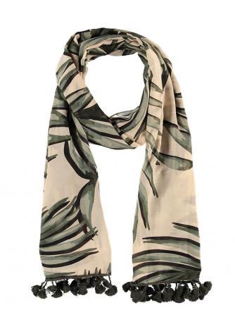 Sarlini Langwerpige Sjaal Leaves Khaki