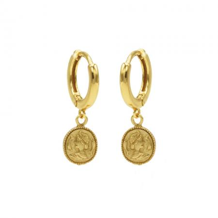 Karma Oorringen Hinged Hoops Coin Goud