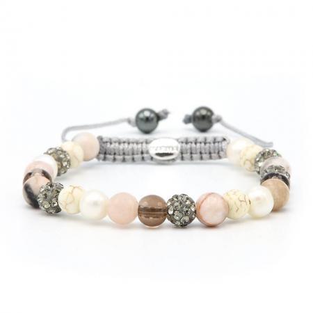 Karma Armband Spiral Teddy Grey Crystal