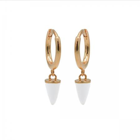 Karma Oorringen Hinged Hoops Emaille Cone Wit Rosé