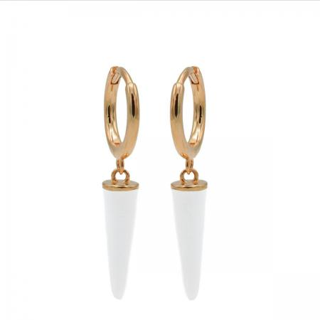 Karma Oorringen Hinged Hoops Emaille Long Cone Wit Rosé