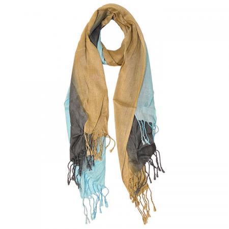 Langwerpige Sjaal met Franjes Blauw/Grijs/Bruin