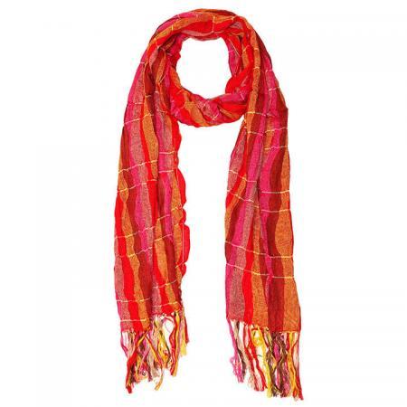 Langwerpige Sjaal met Franjes Rood/Oranje