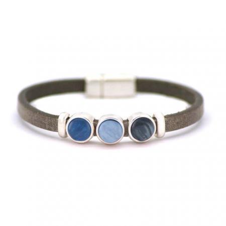 Qoss Taupe Armband Milo Capri Blauw