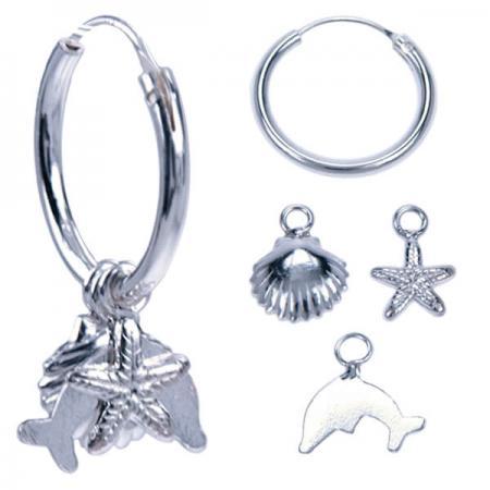 Oorringen Echt Zilver met 3 Hangers Schelp, Dolfijn en Zeester