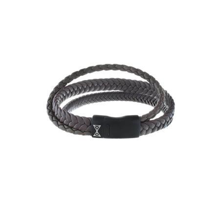 AZE Jewels Armband Iron Three String Brown-on-Black