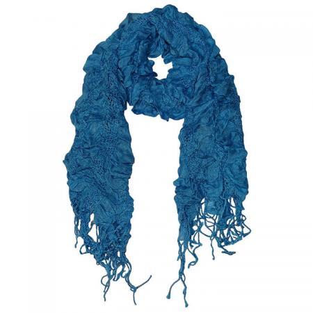 Langwerpige Sjaal met Franjes Dancing Blauw