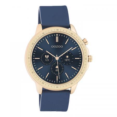 OOZOO Smartwatch Rubber Blauw/Rosé Goud   Q00326