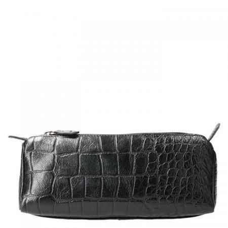 Leather Design Leren Make Up / Pen Etui M Croco Zwart