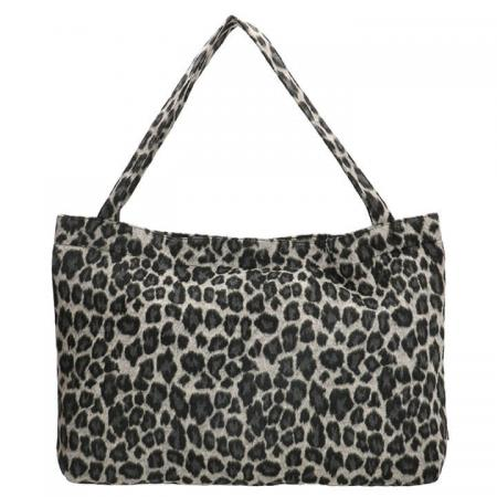 Beagles Fluffy Teddy Mom Bag Ariany Leopard Zwart/Grijs