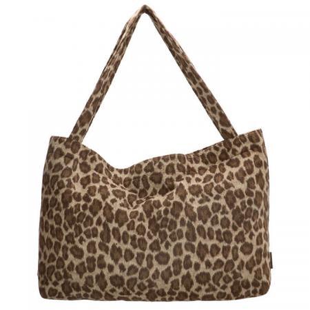 Beagles Fluffy Teddy Mom Bag Ariany Leopard Beige