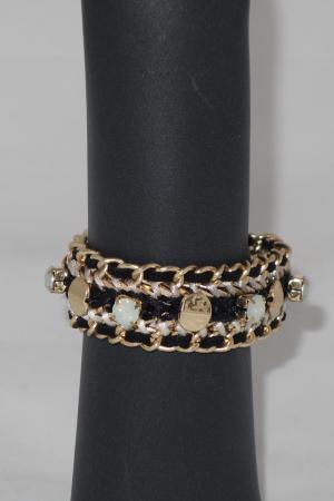 Armband Magneet Metaal Vlecht Zwart en Goud -0