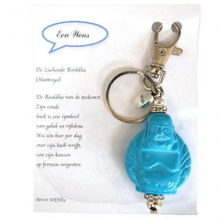 De Lachende Boeddha (Maitreya) Sleutelhanger Licht Blauw-0