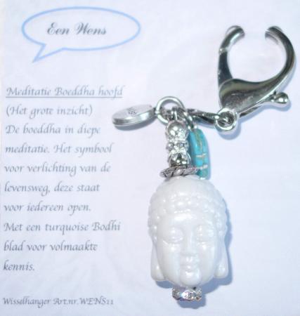 De Meditatie Boeddha Hoofd Sleutelhanger Wit-0