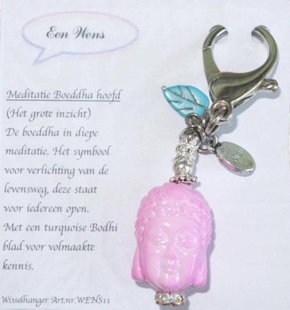 De Meditatie Boeddha Hoofd Sleutelhanger Roze-0