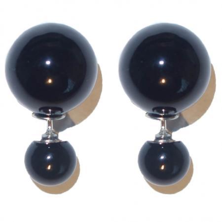 Dubbele Parel Oorbellen met Zilveren Steker Zwart-0