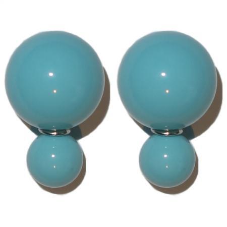 Dubbele Parel Oorbellen Turquoise-0