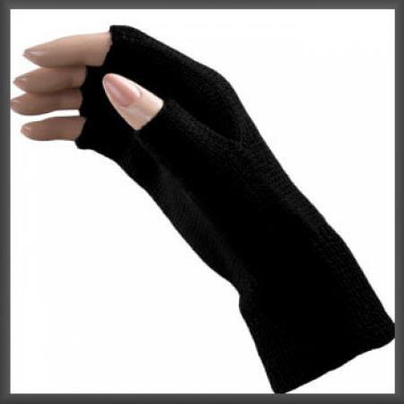 Zwarte Gebreide Vingerloze Handschoenen L/XL-0