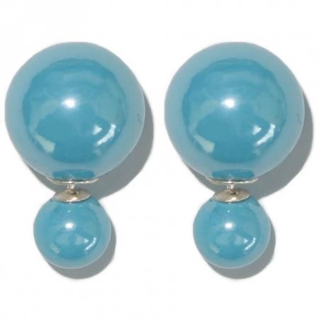 Geheel Zilveren Dubbele Parel Oorbellen Turquoise -0