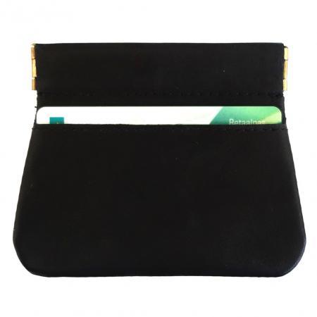 Knijpportemonnee Echt Leer met Creditcardvakje Zwart-0
