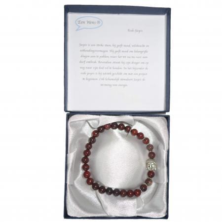 Halfedelstenen Armband in Geschenkdoos Rode Jaspis-6525