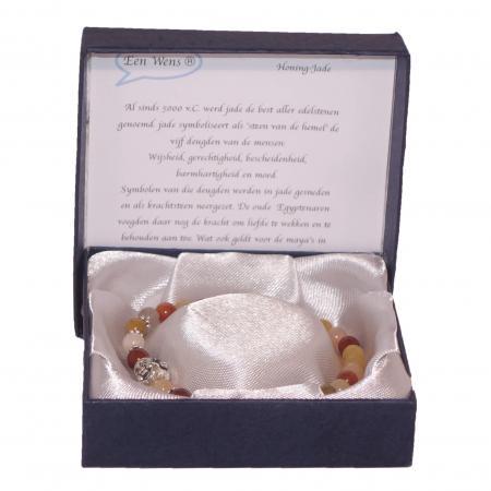 Halfedelstenen Armband in Geschenkdoos Honing-Jade-0