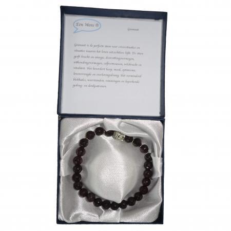 Halfedelstenen Armband in Geschenkdoos Granaat-6537