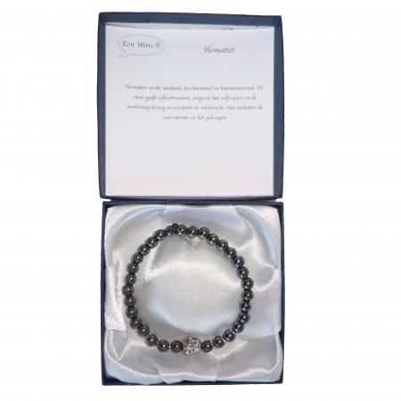 Halfedelstenen Armband in Geschenkdoos Hematiet-7033