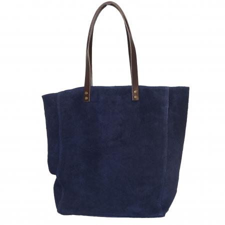 Echt Suède Shopper met Ster Donker Blauw-7705