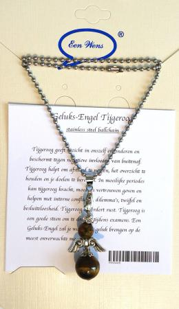 Halfedelstenen Geluks-Engel Ketting Tijgeroog-0