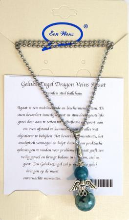 Halfedelstenen Geluks-Engel Ketting Dragon Veins Agaat-0