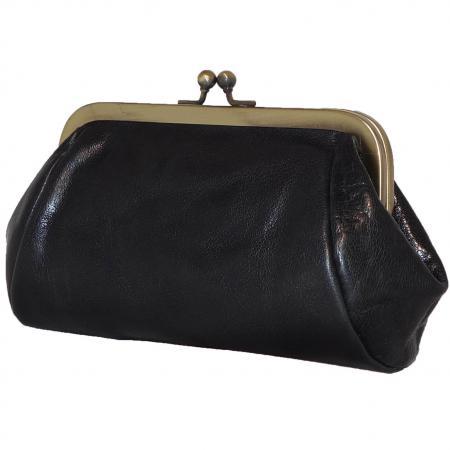 fae49b9a160 Echt Leren Beugel Portemonnee / Beursje Zwart kopen