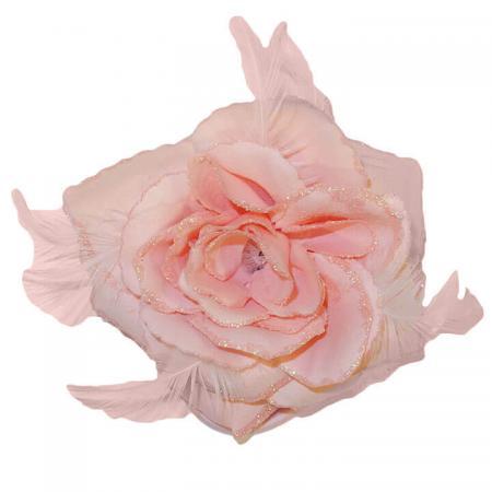 Haarbloem_Corsage_elastiekbroche-roos-veren-roze