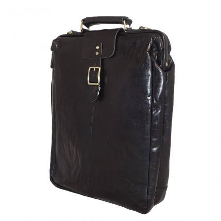 Leather Design Leren Rugzak / Schoudertas Groot Zwart-14513