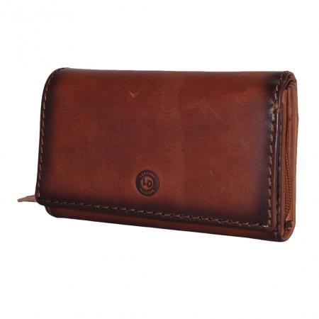 Leather Design Portemonnee met Overslag Burned Bruin-0