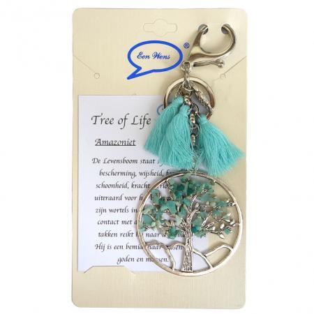 Tas/Sleutelhanger Tree of Life Amazoniet-0