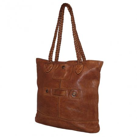 Bear Design Shopper Braided Cognac-16830