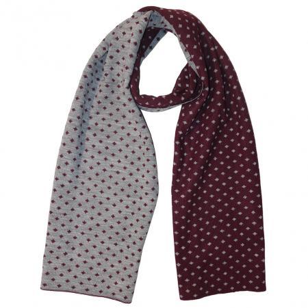 Gebreide Winter Sjaal Bordeaux / Grijs met Stippen-0