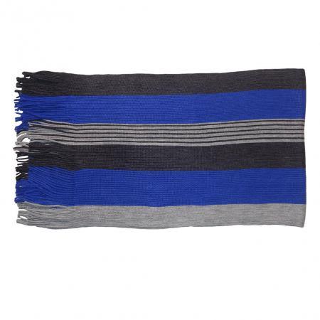Gebreide Winter Sjaal Grijs / Blauw-17548
