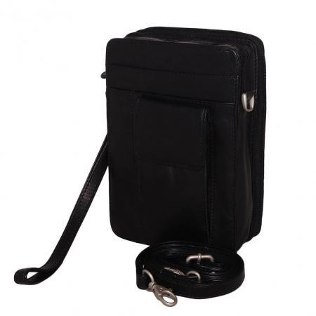 Leather Design Reportertas met Polsband Unisex Zwart-0