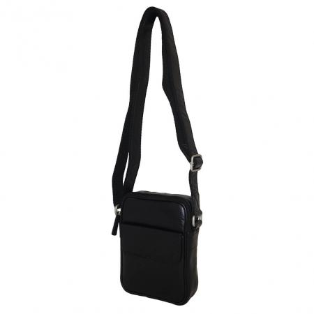 Leather Design Schoudertas met Klep Unisex Zwart-0
