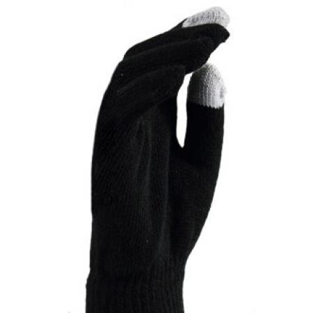 Gebreide Touchscreen Handschoenen Zwart met Wit-0